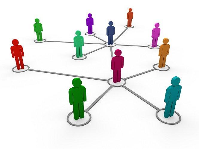 3d network team red blue green pink social